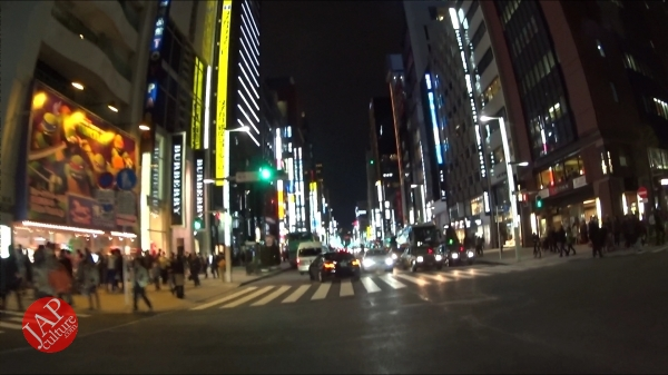 Ginza Chuo dori, Central street [Riding view] at night. elegant neon sing town_0001