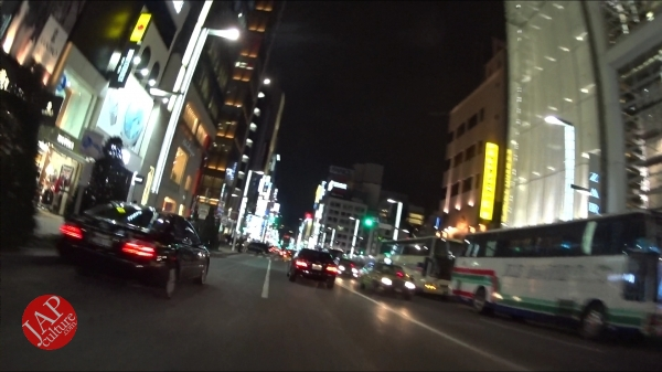 Ginza Chuo dori, Central street [Riding view] at night. elegant neon sing town_0003