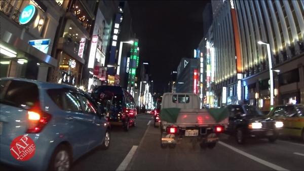 Ginza Chuo dori, Central street [Riding view] at night. elegant neon sing town_0007