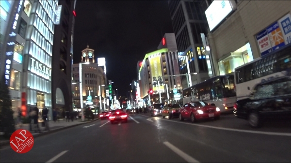 Ginza Chuo dori, Central street [Riding view] at night. elegant neon sing town_0005