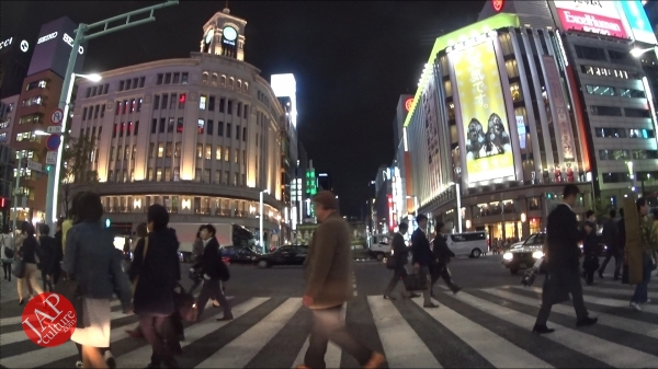 Photo of Ginza Chuo dori, Central street [Riding view] at night. elegant neon sing town.